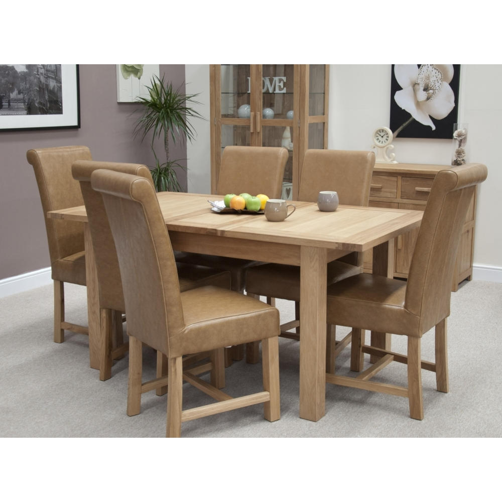 Boston Dining Table Extending With Six Leather Chairs Set