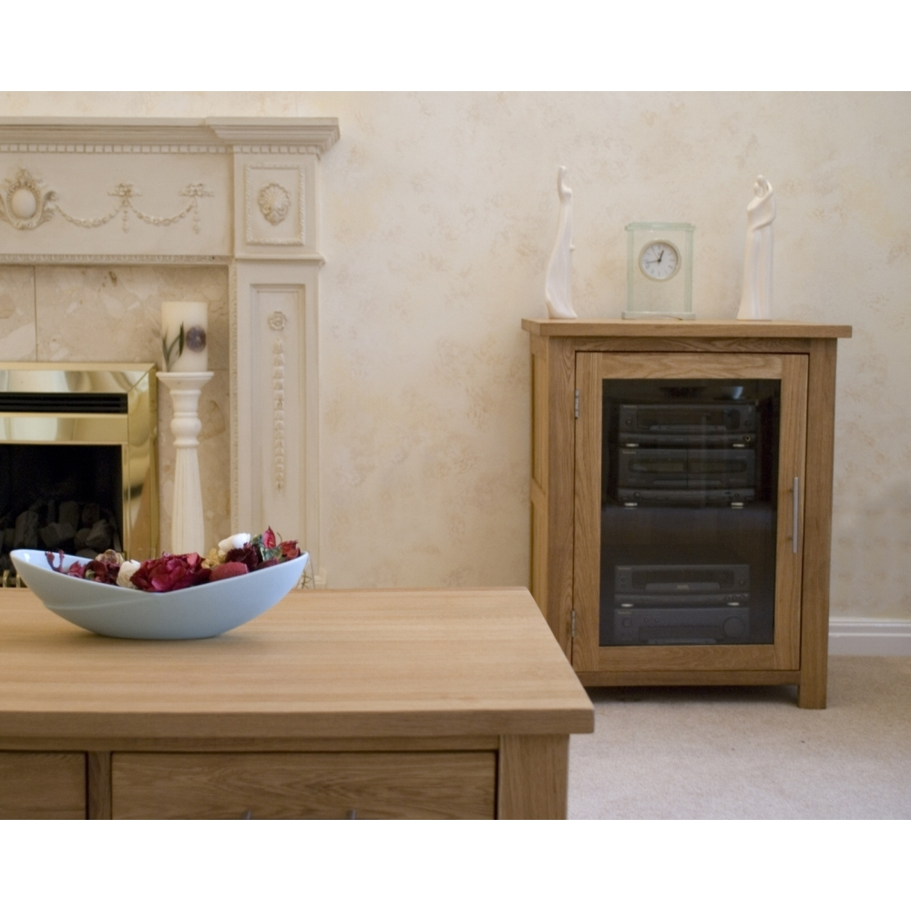 Boston Hi Fi Storage Cabinet Unit Solid Oak Living Room Furniture EBay