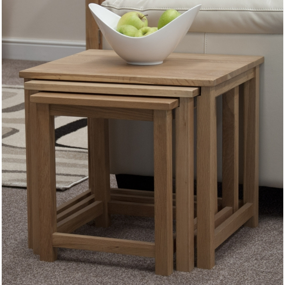 Boston Nest Of Three Coffee Side Tables Solid Oak Living Room Furniture EBay