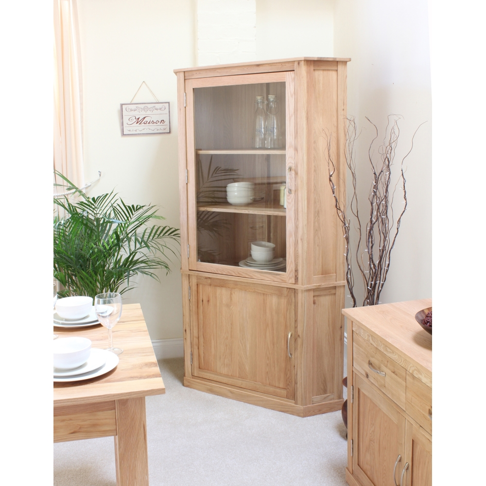 mobel corner display cabinet cupboard glazed solid oak living room furniture ebay. Black Bedroom Furniture Sets. Home Design Ideas