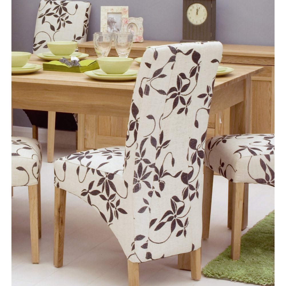 mobel set of four floral dining chairs solid oak dining