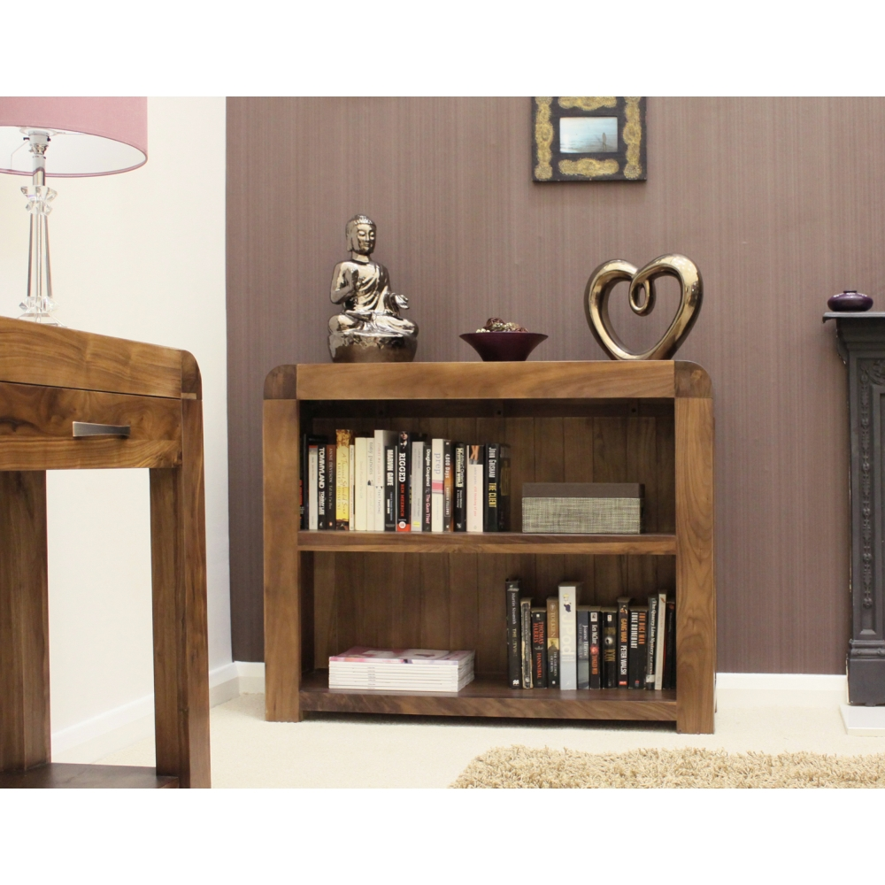 Shiro Low Bookcase Living Room Office Solid Walnut Dark