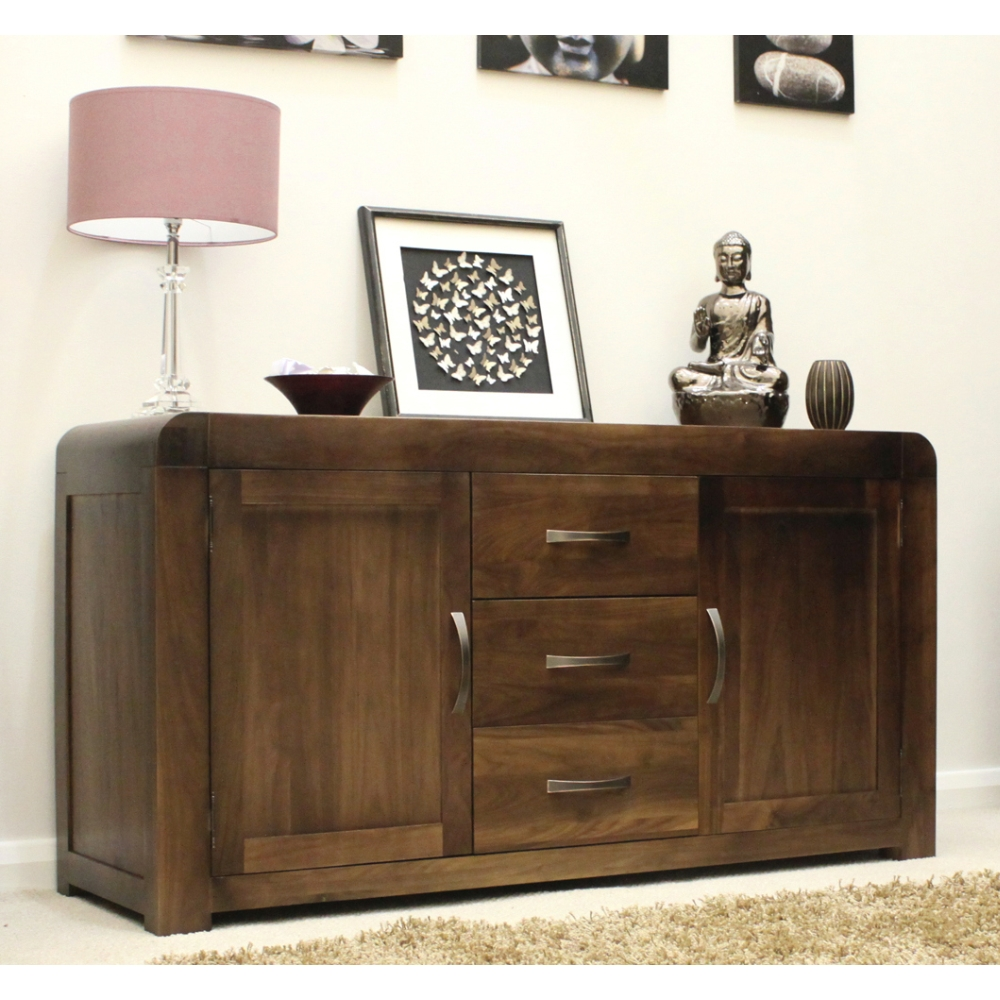 Walnut Wood Furniture ~ Shiro sideboard large living dining room solid walnut dark