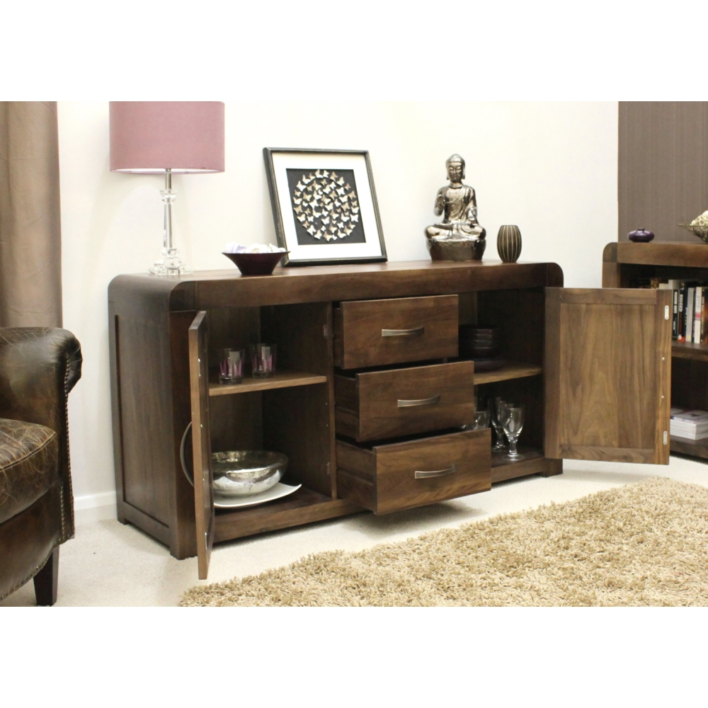 Shiro Sideboard Large Living Dining Room Solid Walnut Dark Wood Furniture Ebay
