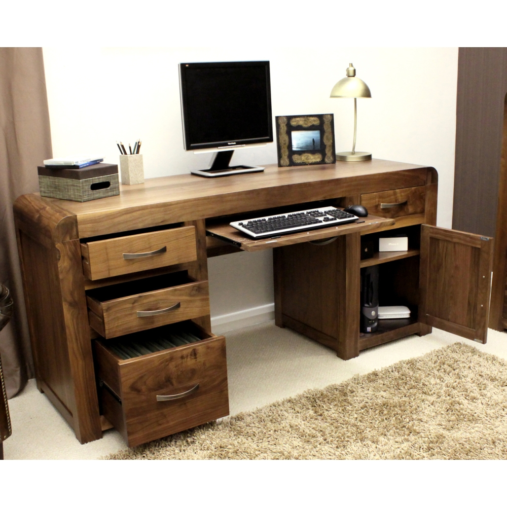 Shiro desk large office pc computer solid walnut dark wood - Walnut office desk ...