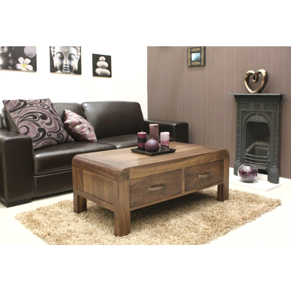 Living Room Furniture Walnut Wood shiro coffee table four drawer storage solid walnut dark wood