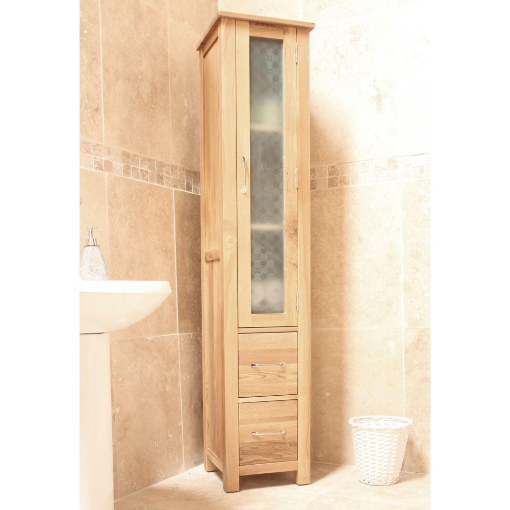 mobel bathroom cabinet tall storage cupboard solid oak