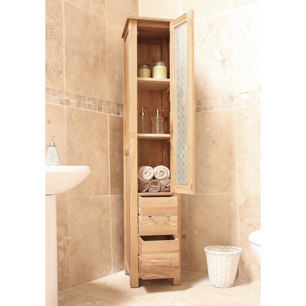 Mobel bathroom cabinet tall storage cupboard solid oak for Bathroom storage cabinet