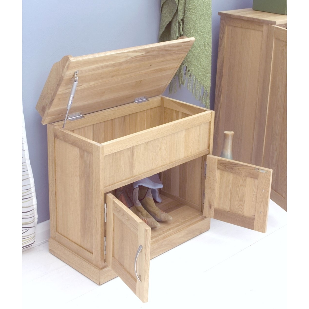 Mobel Shoe Bench Rack Storage Cabinet Solid Oak Hallway