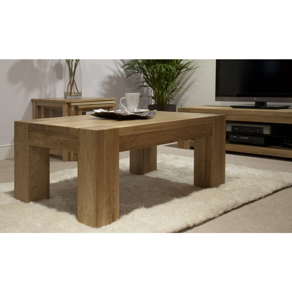 Michigan coffee table large solid oak living room for Large living room table