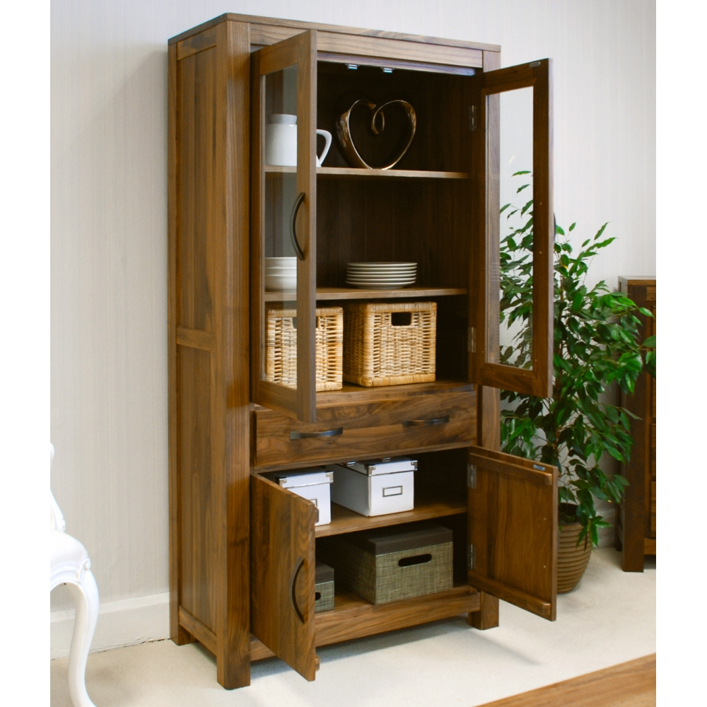 Mayan large glazed bookcase display cabinet solid walnut for Dark wood furniture