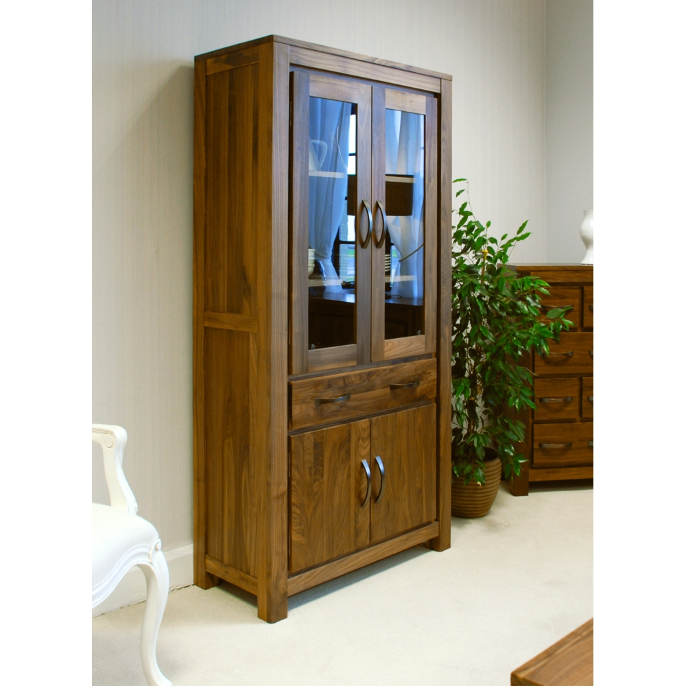 Timber Bookcase: Mayan Large Glazed Bookcase Display Cabinet Solid Walnut