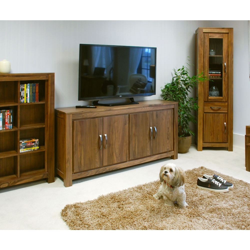 Mayan large low living dining room sideboard solid walnut for Low living room furniture
