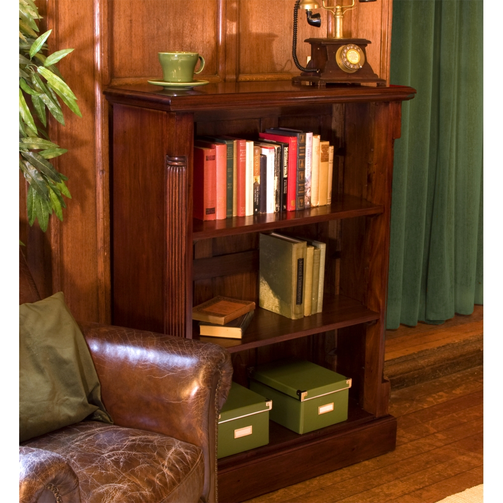 La roque low living room office bookcase solid mahogany for Low living room furniture