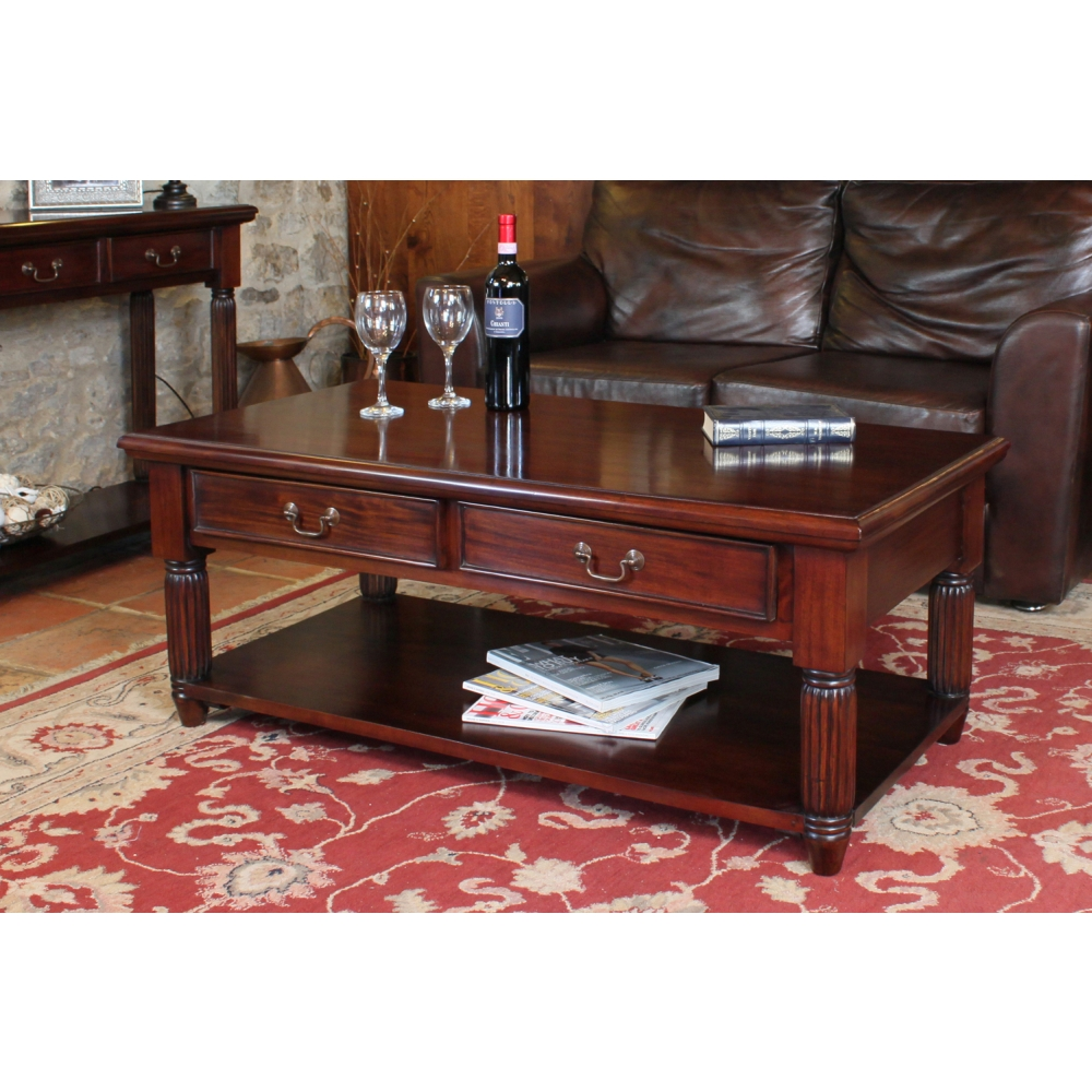 Living Room Table With Storage: La Roque Two Drawer Storage Coffee Table Solid Mahogany