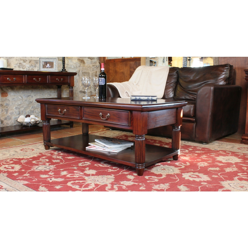 La Roque Two Drawer Storage Coffee Table Solid Mahogany Living Room Furniture Ebay