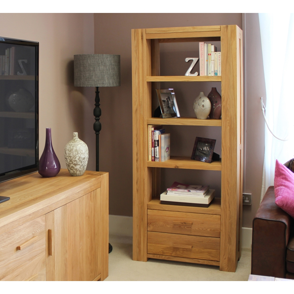Atlas Living Room Office Furniture Large Bookcase Solid Chunky Oak Furniture Ebay