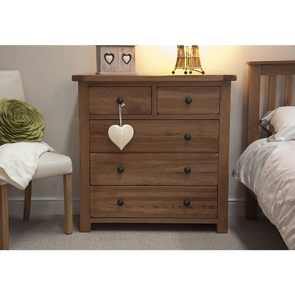 Denver 2 over 3 chest of drawers solid rustic oak bedroom furniture ebay - Denver bedroom furniture ...