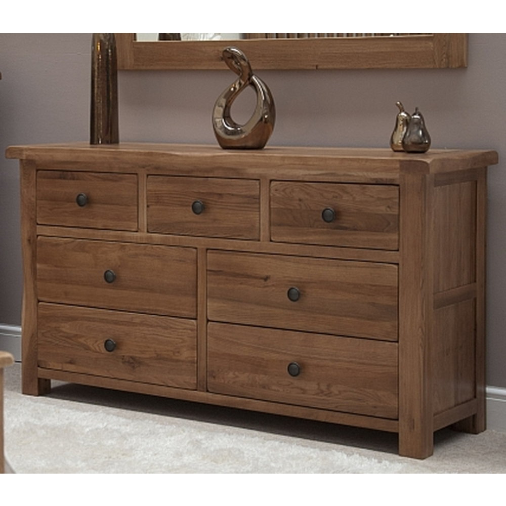 Denver large wide chest of drawers solid rustic oak