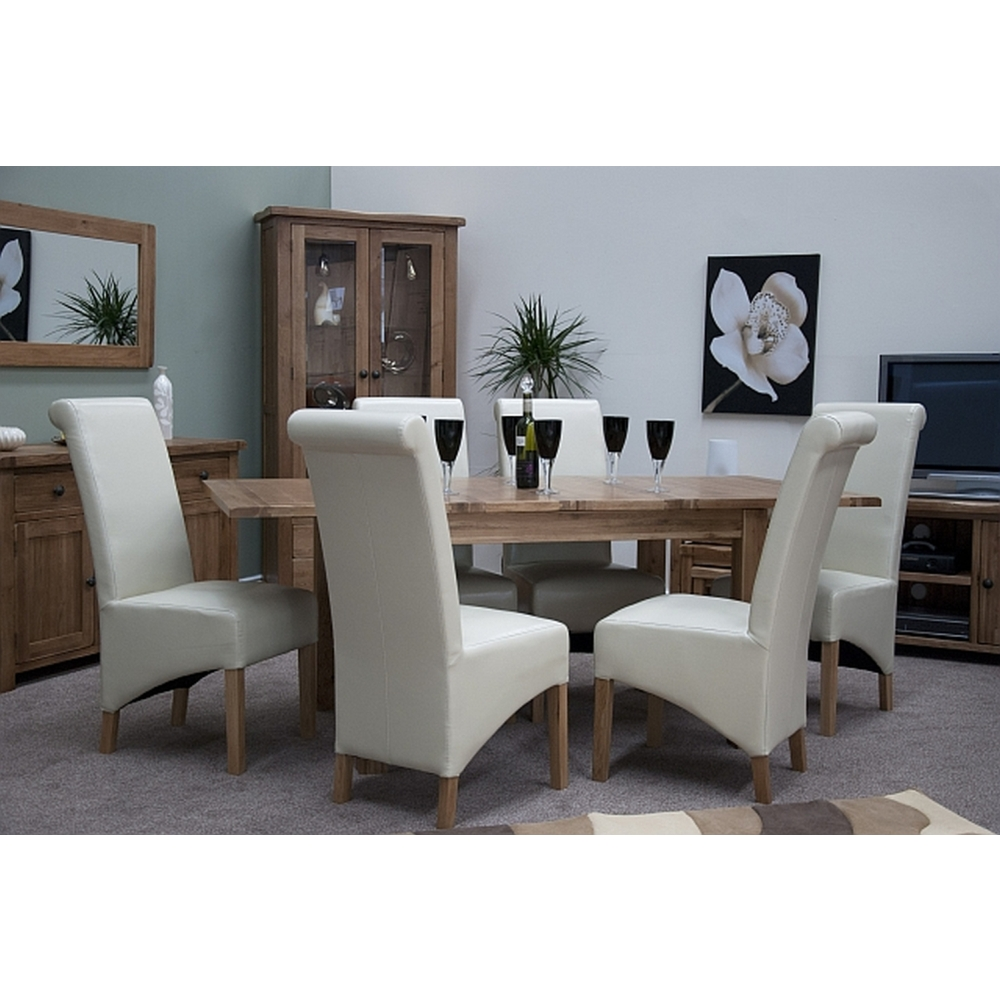 denver extending dining table and six leather chairs set