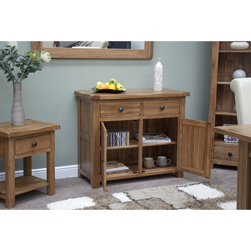 Denver Small Storage Sideboard Solid Rustic Oak Living