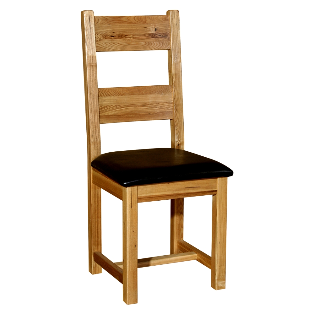Melrose Set Of Four Leather Seat Dining Chairs Solid Rustic Oak Furniture EBay