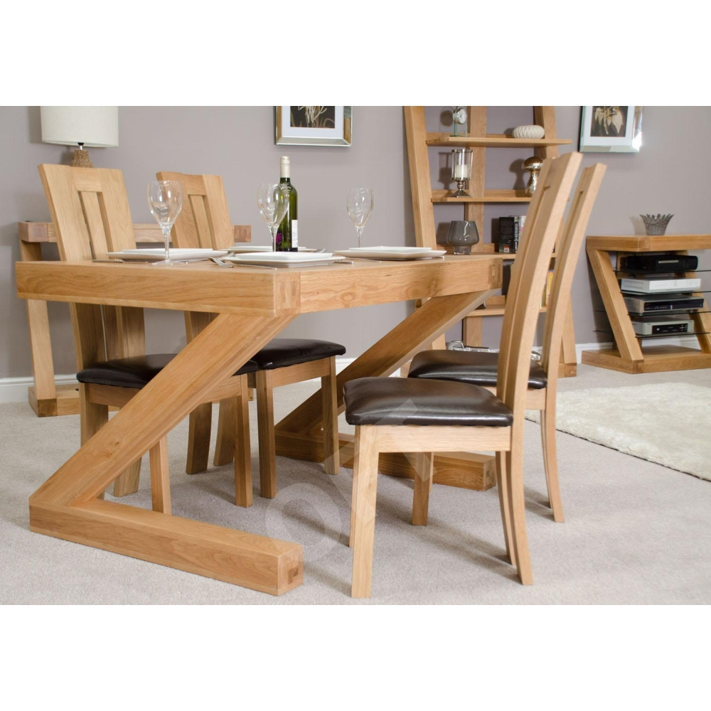 Z Small Chunky Dining Room Four Seater Table Solid Oak Designer Furniture Ebay
