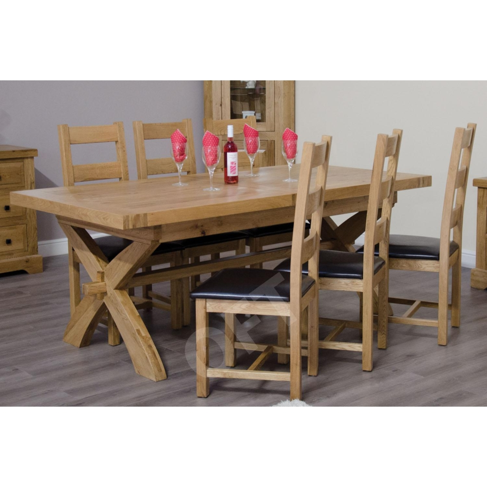 Montero Solid Oak Furniture Cross Leg Extending Dining Table And Six Chairs S