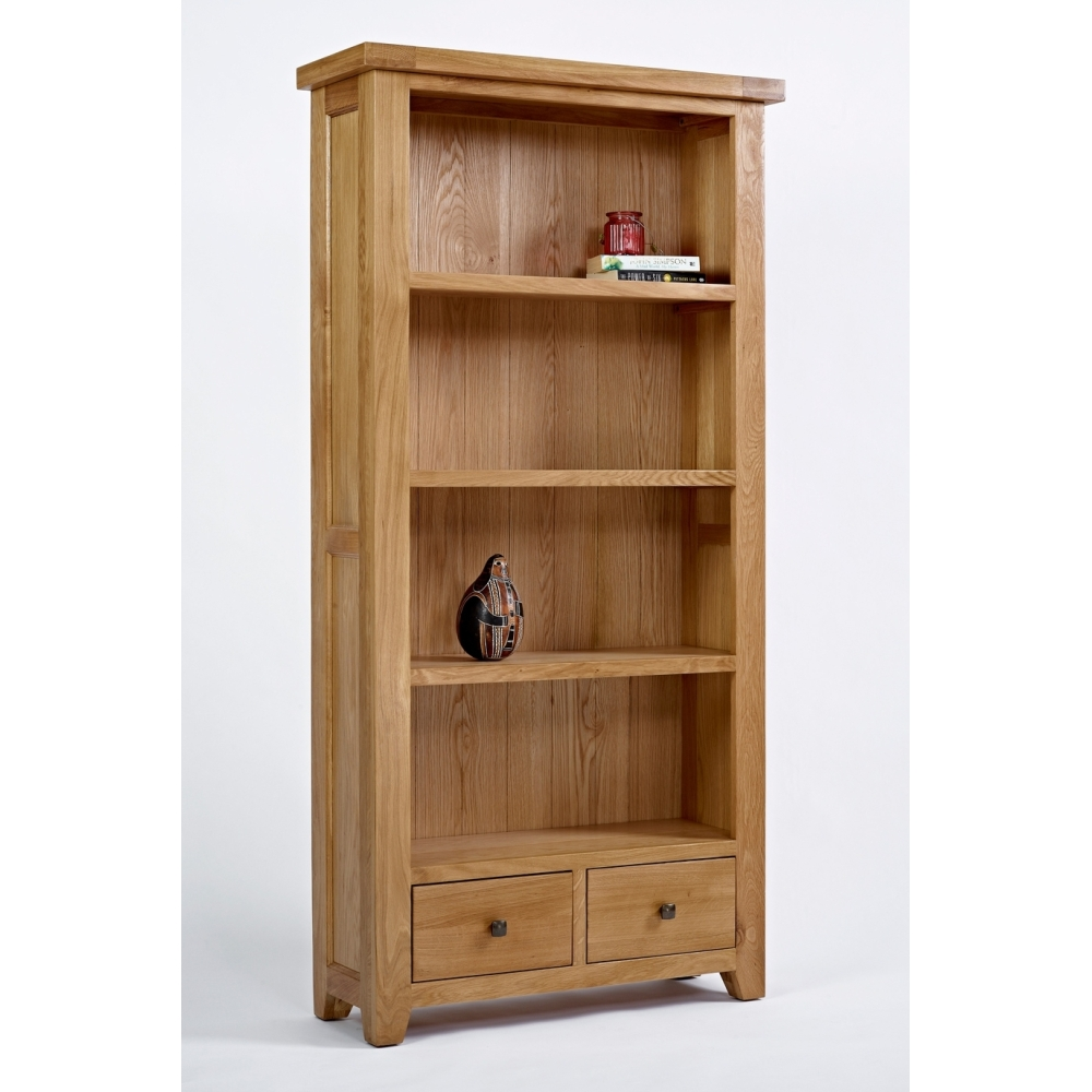 Devon Large 5 Shelf Bookcase With Drawers Solid Oak Living