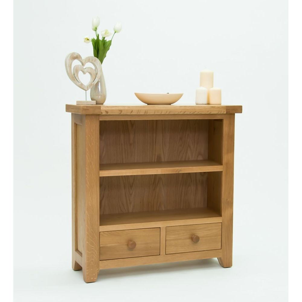 Devon Small Low 2 Shelf Bookcase With Drawers Solid Oak