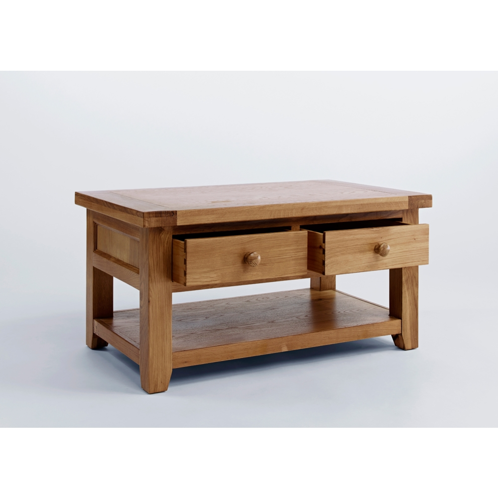 Devon Storage Coffee Table With Shelf And Drawers Solid Oak Living Room