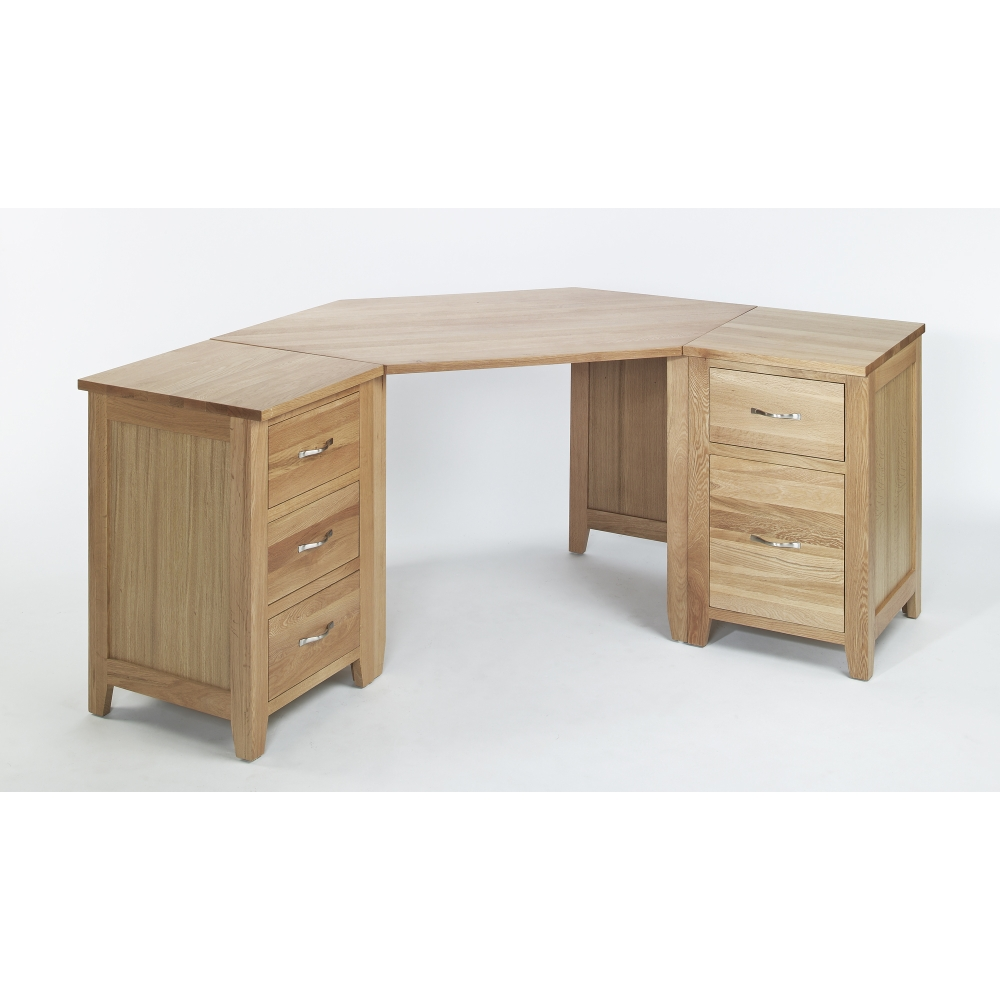Sherwood solid oak furniture corner office pc computer desk ebay - Corner office desk ...