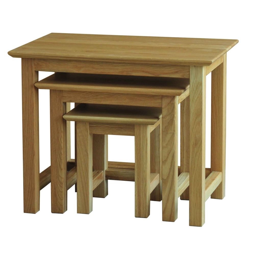 Bryson Solid Oak Furniture Small Nest Of Three Coffee Tables Ebay