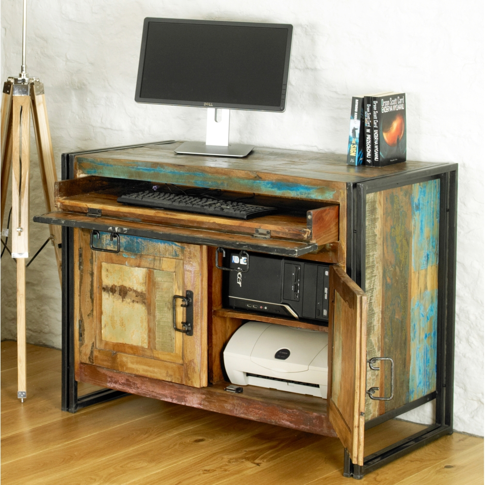 Urban chic solid reclaimed wood office furniture hideaway home computer desk ebay - Home office furniture solid wood ...
