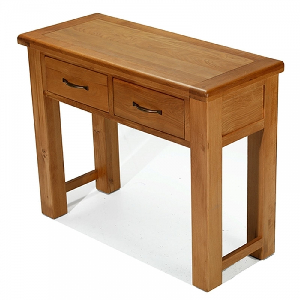 melrose solid oak furniture small console hall table with drawers ebay. Black Bedroom Furniture Sets. Home Design Ideas
