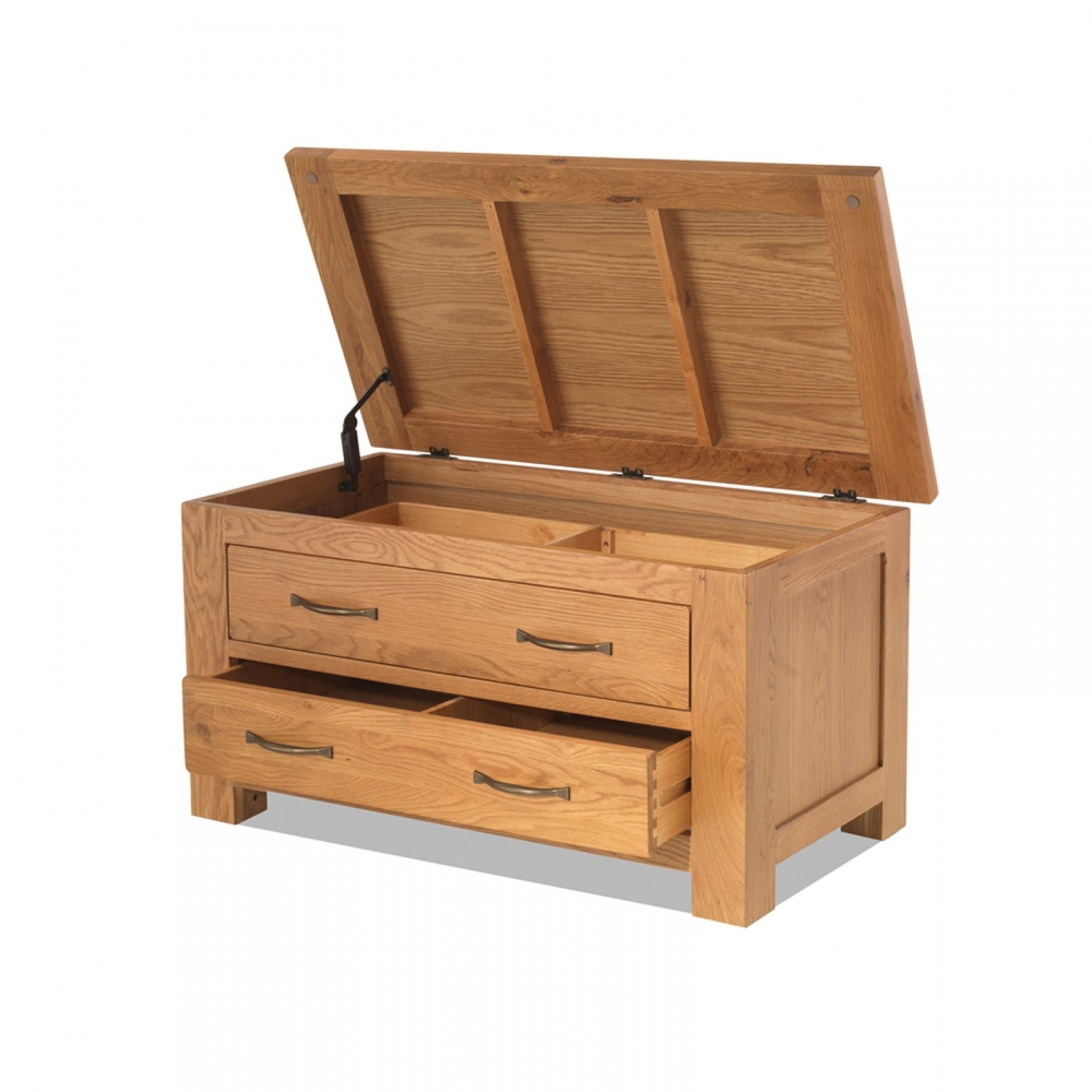 Oregon Solid Oak Bedroom Furniture Blanket Storage Box With Drawers
