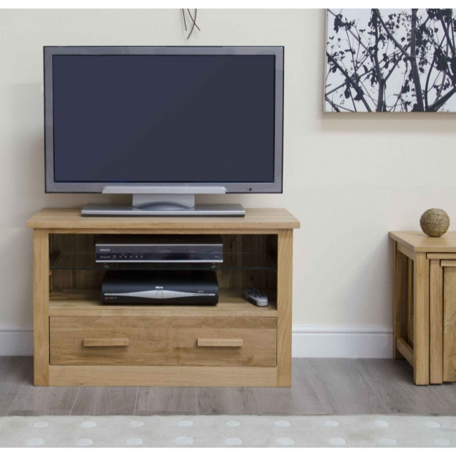 Arden solid oak living room furniture small television for Tv stand for small living room