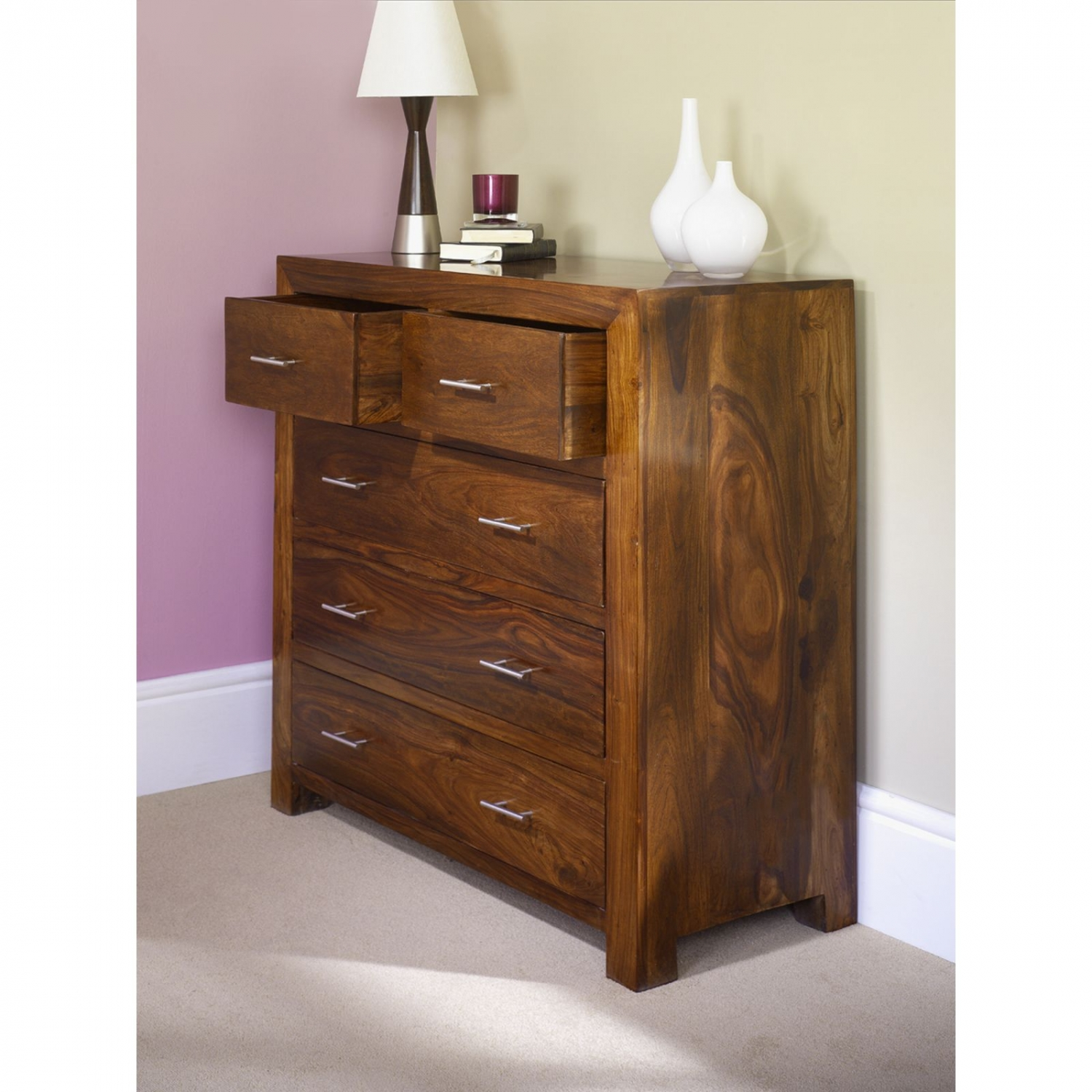 Mysore Solid Sheesham Furniture 2 Over 3 Bedroom Chest Of Drawers EBay