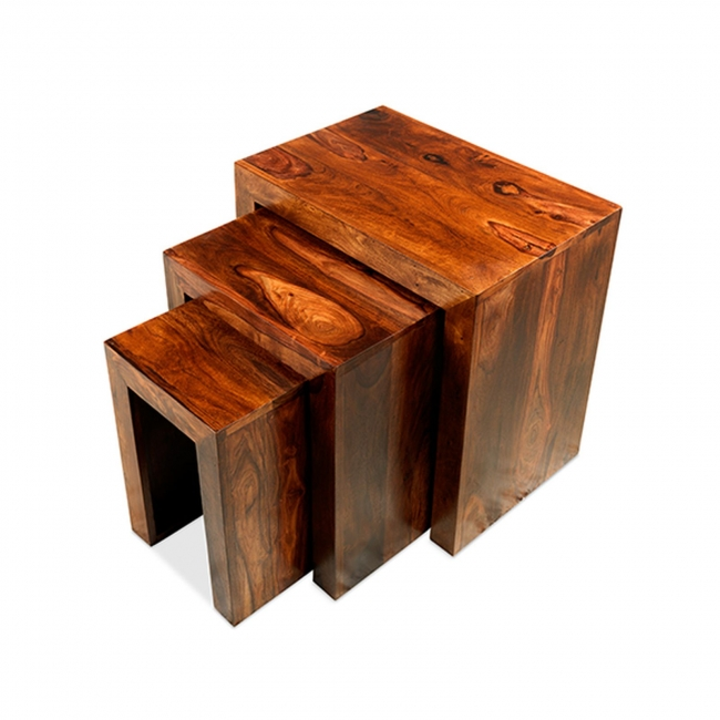 Jaipur Solid Sheesham Furniture Nest Of Three Cube Coffee Tables Set Ebay