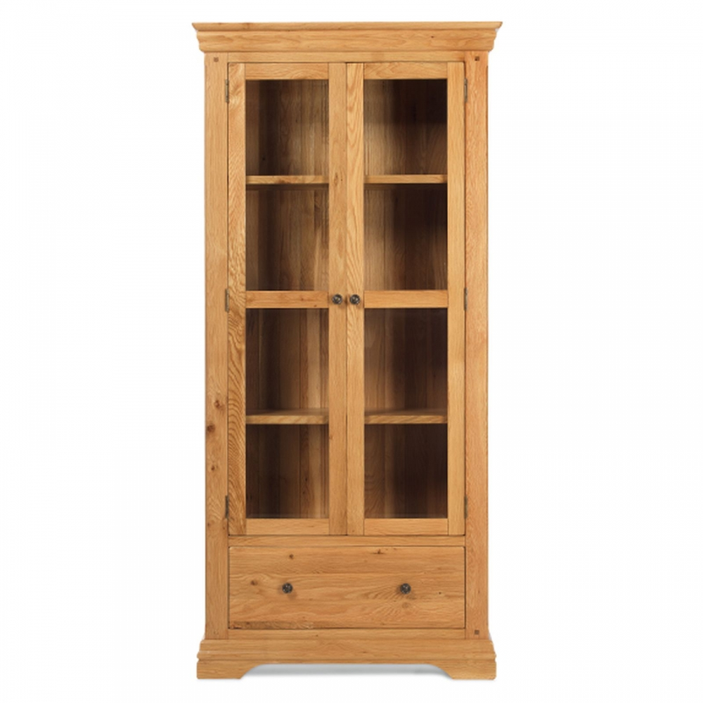 le havre solid oak furniture glazed display cabinet cupboard