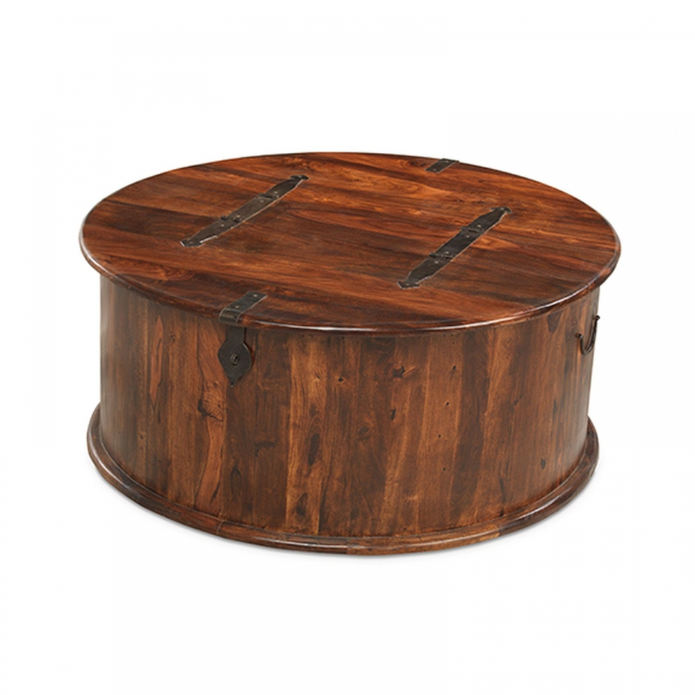 Jodhpur Sheesham Indian Furniture Round Coffee Table Storage Trunk Ebay