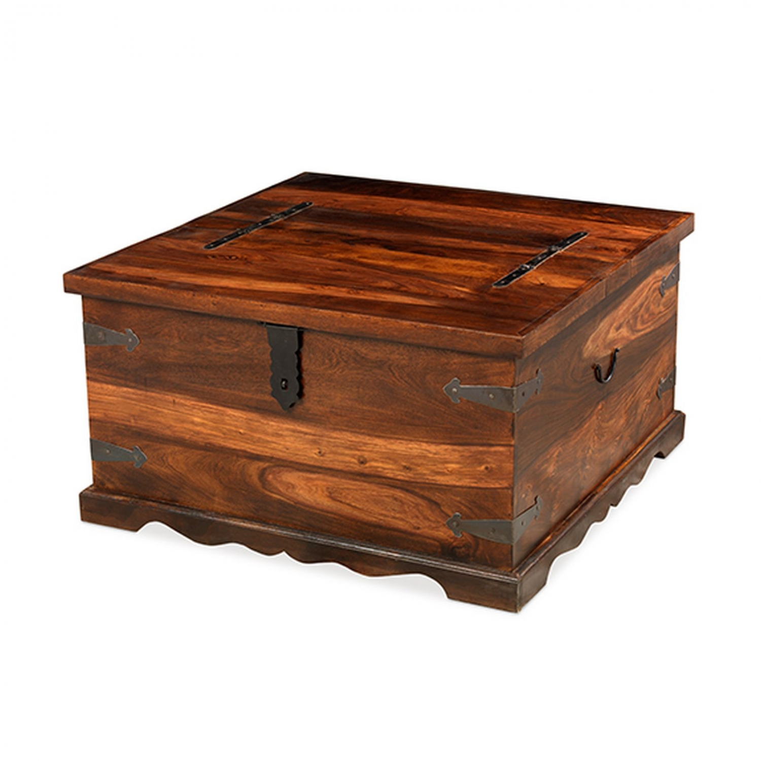 Bengal sheesham indian furniture square coffee table storage trunk ebay Square coffee table with shelf
