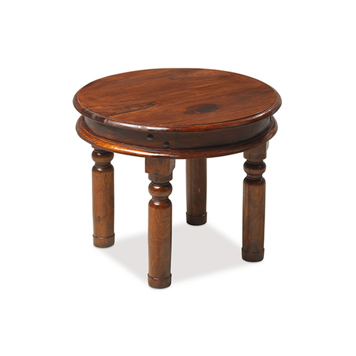 Bengal solid sheesham indian furniture 55 cm round coffee for Indian coffee table