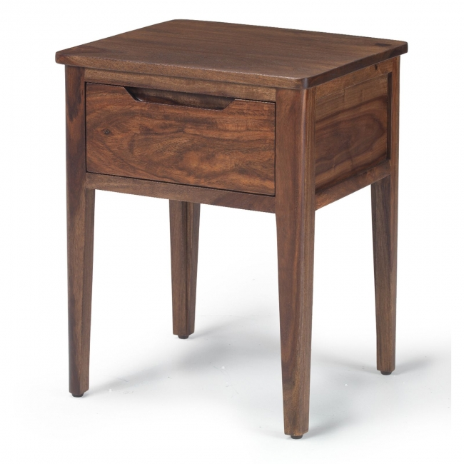 Samson Walnut Dark Wood Furniture Side End Lamp Table With