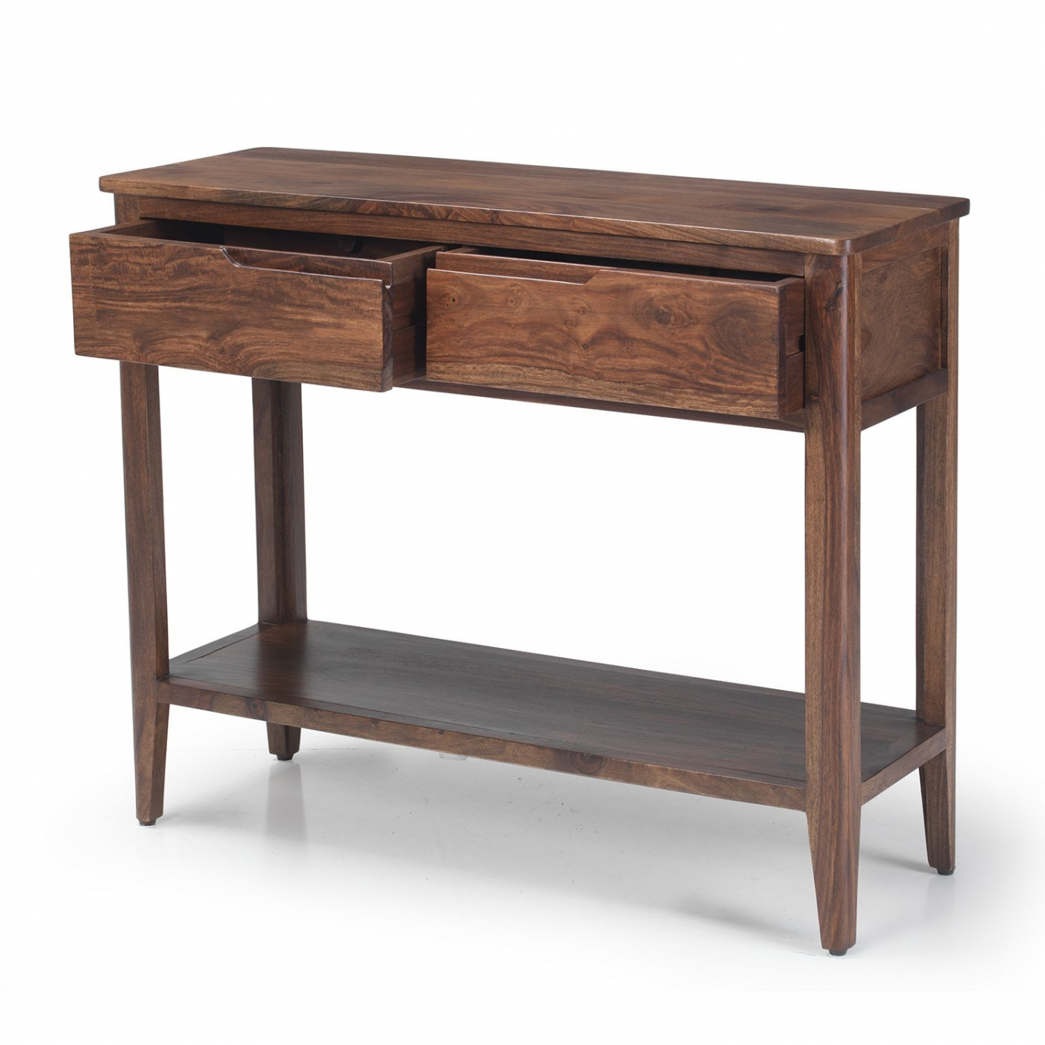 Padstow walnut dark wood furniture console hall table with for Dark wood hall table