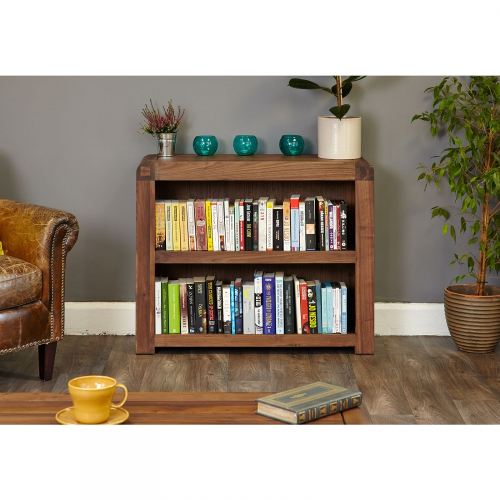 Inca Dark Wood Solid Walnut Furniture Low Living Room Office Bookcase Ebay