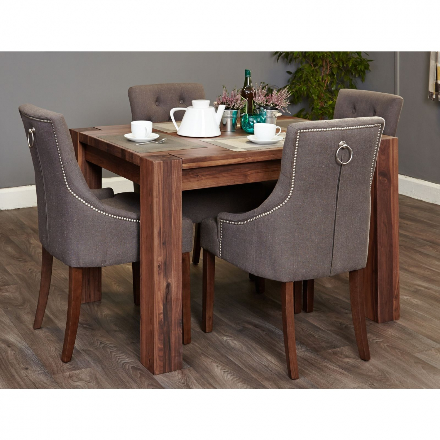 solid walnut furniture small dining table and four luxury chairs set