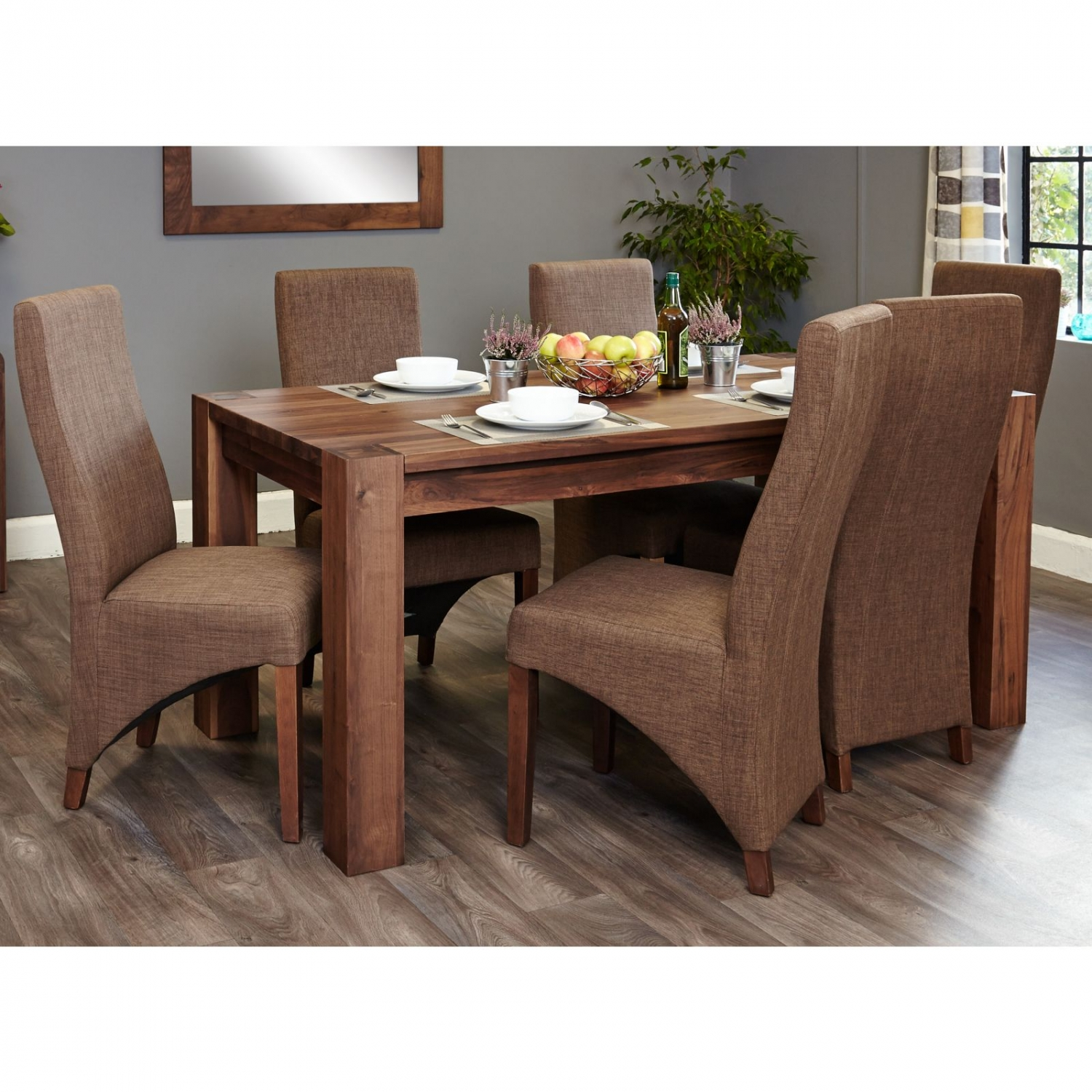 Strathmore Solid Walnut Furniture Large Dining Table And Six Hazelnut Chairs Set Ebay