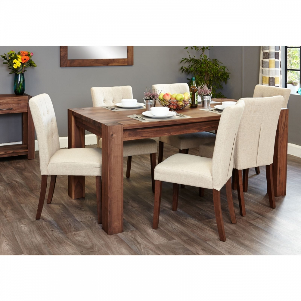 shiro solid walnut furniture large dining table and six biscuit chairs set ebay. Black Bedroom Furniture Sets. Home Design Ideas