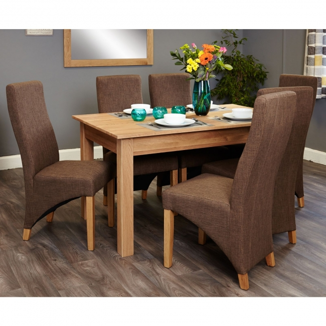 nara solid oak furniture medium dining table and six